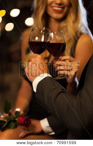 Couple Drinking Wine After Proposal
