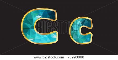 Cc With Gold And Teal