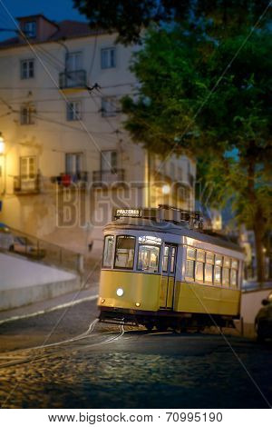 Tramway uphill in Lisbon, late at night