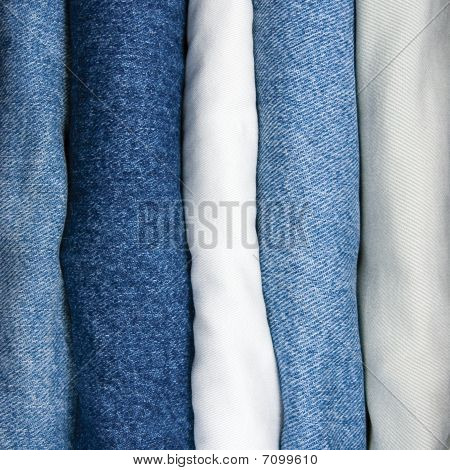 Blue And Khaki Jeans Stack Closeup