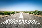 stock photo of horizon  - An image of a road to the horizon with text milestone - JPG
