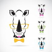 foto of rhino  - Vector image of a rhino glasses on white background - JPG