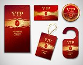 picture of exclusive  - Vip members only premium golden exclusive cards red design template set isolated vector illustration - JPG