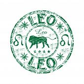 image of leo  - Green grunge rubber stamp with lion shape and the leo zodiac symbol - JPG