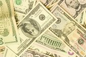 stock photo of twenty dollars  - banknotes one five ten twenty fifty and one hundrid dollar closeup - JPG