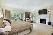 image of master bedroom  - Master bedroom in luxury home with marble fireplace