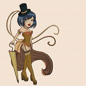 picture of bustiers  - Sexy steampunk  women with parasol - JPG