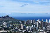 stock photo of waikiki  - Corner of Diamondhead and the city of Honolulu on Oahu on a nice day - JPG