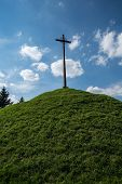picture of cross hill  - Cross on the green hill  - JPG