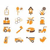 picture of truck farm  - set of 16 farm and agriculture icons with orange and brown color theme - JPG