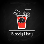 stock photo of bloody mary  - Illustration with glass of bloody mary for menu cover - JPG