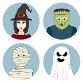 stock photo of frankenstein  - Halloween character set - JPG
