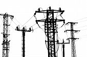 picture of power transmission lines  - Power Line on white background - JPG