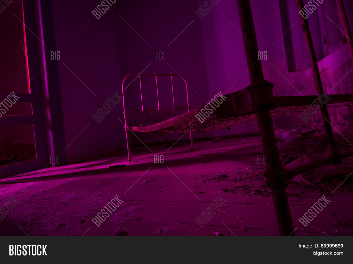 Light Painted In Pink Abandoned Bed In Dark Room. Halloween Party ...