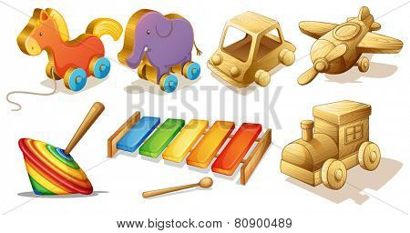 Illustration of many types of wooden toys