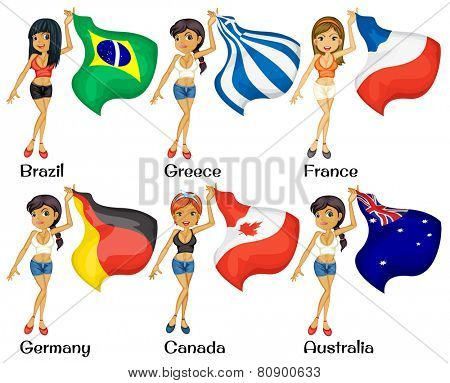 Illustration of girls holding flags