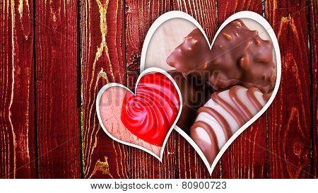 Chocolate Pralines On Wood