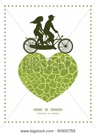 Vector abstract green natural texture couple on tandem bicycle heart silhouette frame pattern greeti
