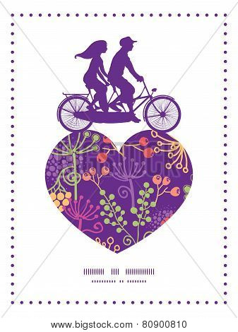 Vector colorful garden plants couple on tandem bicycle heart silhouette frame pattern greeting card