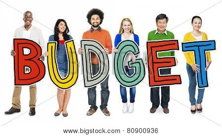Group of Diverse People Holding Budget