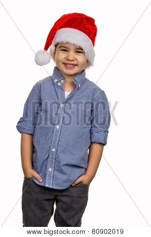 little boy with santa hat, symbol of christmas, childhood, fun, cleverness