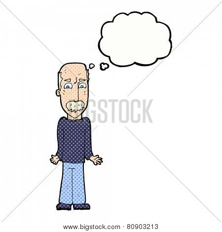 cartoon dad shrugging shoulders with thought bubble