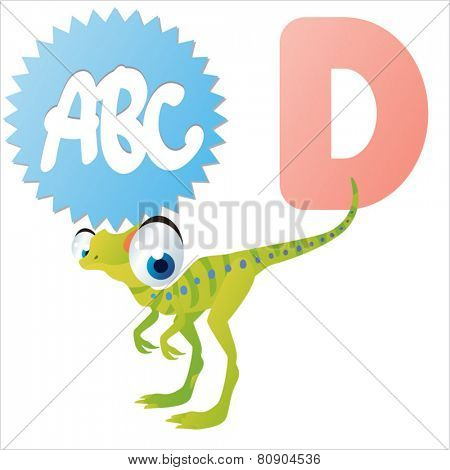 D is for vector cartoon Dinosaur isolated