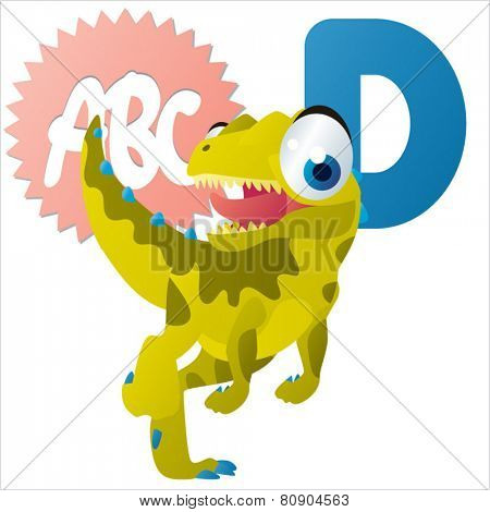 D is for Dinosaur vector cartoon animal