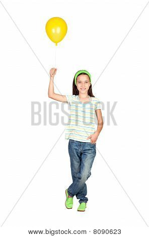 Adorable Little Girl With Yellow Balloon