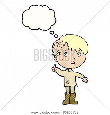 cartoon boy with ugly growth on head