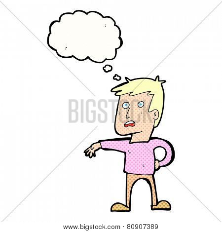 cartoon man making camp gesture with thought bubble