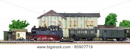 electric train railway station miniature