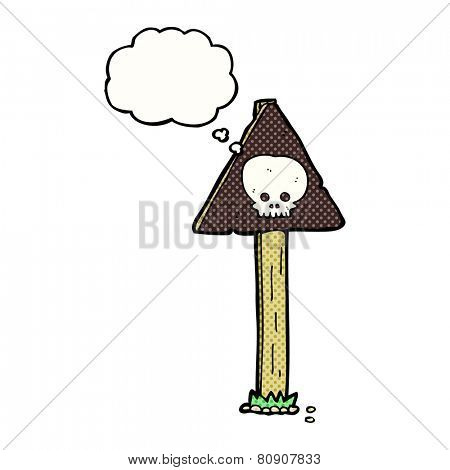 cartoon sign post with thought bubble