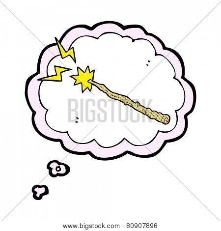 cartoon magic wand in thought bubble