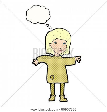 cartoon woman in patched clothing with thought bubble