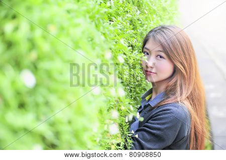 Portrait Asia Young Woman Happy And Smile On Doi Tung Garden, Dhiang Rai, Thailand