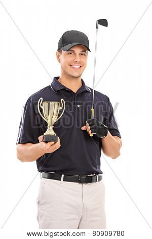 Male golfing champion holding a gold cup isolated on white background