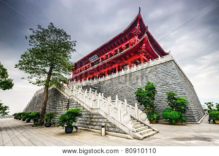 FUZHOU, CHINA - JUNE 15, 2014: Fuzhou, China at the historic Zhenhai Tower. The tower dates from 1380 AD.