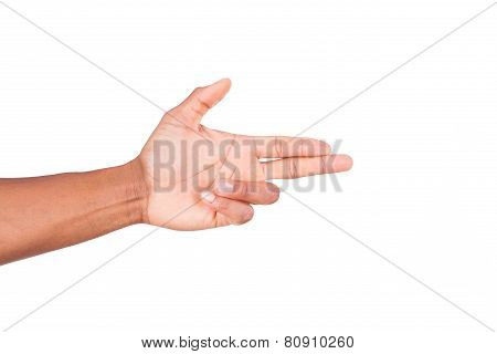 Isolated African Hand Making Gun Gesture