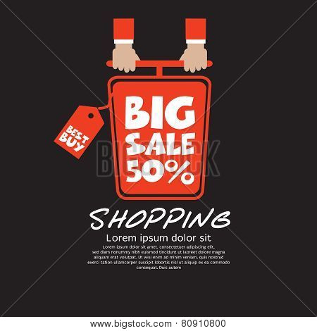 Top View Shopping Cart Big Sale Concept Vector.