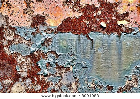 Pintura velha de Peeling em fundo de Grunge Metal oxidado