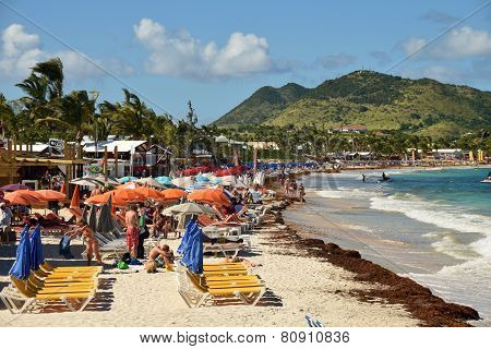 Tourists On Orient Beach St Maarten