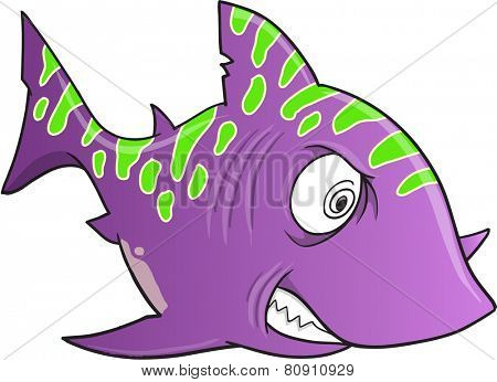 Purple Crazy Shark Vector Illustration Art