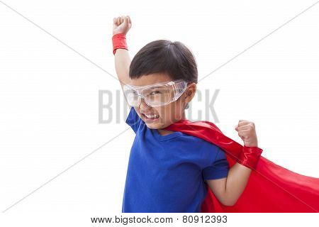 Little boy pretending to be a superhero