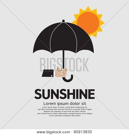 Hand Holding Umbrella Under The Sun.