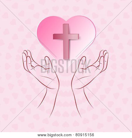 True Cross In Pink Heart Floating Over Human Hand On Pink Background