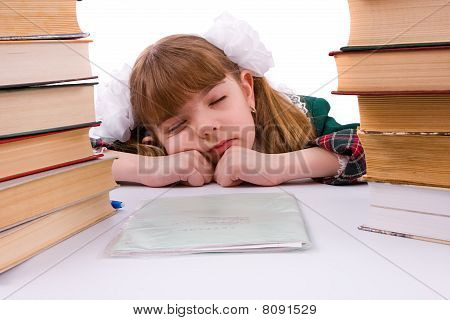 Schoolgirl Is Sleeping Near Her Homework.
