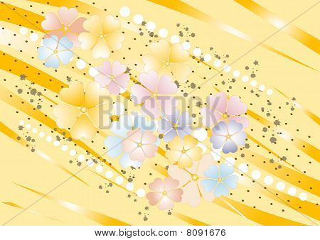Yellow Nuance Background With Flowers.