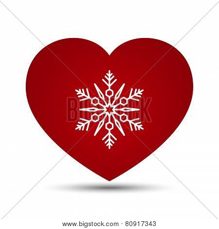 Vector Love Heart Snowflake Illustration