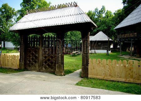 Traditional gate in National Village Museum, Bucharest, Romania.